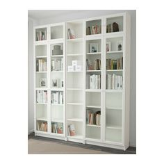 IKEA BILLY/OXBERG bookcase Adjustable shelves, so you can customise your storage as needed. Bookcase With Glass Doors, Glass Cabinet Doors, Glass Shelves, Bookcase White, Wall Shelves, Shallow Shelves, Narrow Shelves, Bookcase Wall, Floor To Ceiling Bookshelves