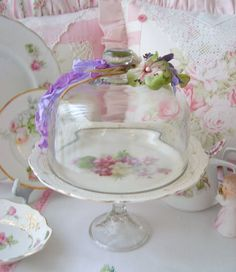 Vintage Floral Cake Pedistal Stand with Glass by sweetnshabbyroses