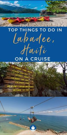 Top Things to Do in Labadee, Haiti. We give you our list of the top things to do on Royal Caribbean's private island of Labadee, Haiti. Are you taking a Royal Caribbean cruise vacation, and making a stop at their private island of Labadee, Haiti? Here is our list of the best things to do in this cruise port. From the Dragon's Breath Zipline, a splash park, to a kayaking tour, and so much more. Check out our post and you will make the most of your time in port. Cruise Excursions, Cruise Destinations, Cruise Port, Cruise Vacation, Royal Caribbean International, Royal Caribbean Cruise, Cruise Checklist, Labadee Haiti, Liberty Of The Seas