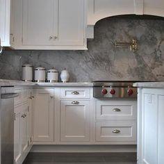 White Kitchen cabinets with Gray Marble Backsplash, Transitional, Kitchen