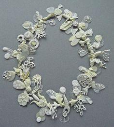 Lia Tajcnar, The Curiosity Smith. Necklace, 'Ceremonial Chaos' porcelain & resin, 2012.
