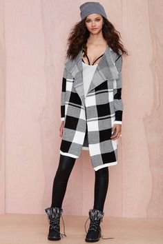 Check On It Sweater Coat - Cardigans | Plaid & Flannels | Coats | Tops