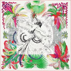 Mythiques Phoenix | Giant 'Colouring' silk scarf, embroidered with silk thread (140 x 140 cm) | Mythiques Phoenix pattern, printed in black and white, gradually turns into a bird of paradise with luxuriant and vibrant colours using the magic of colouring. | Silk thread embroidery and many small iridescent glass beads are delicately placed all around the bird, bringing radiance and brilliance to add to its splendour. | Laurence Bourthoumieux | Ref. : H702507S 01 | £4,190