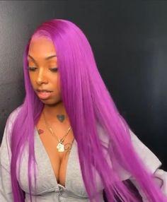 Purple Hair Black Girl, Black Girl Weave, Purple Wig, Frontal Hairstyles, Dope Hairstyles, Black Girls Hairstyles, Colored Weave Hairstyles, Colored Wigs, Colored Hair