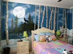 Birch trees, wolves and snow - Mural Idea in Fort Mill SC
