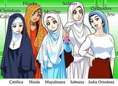 Religião, roupas, véus, ilustração, mulheres, ...