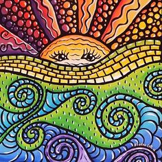 Mosaic Sunscape by Sandra Lett, Art - Sun, Moon, Stars