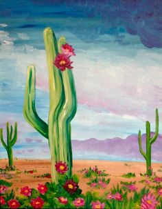 Join us for a Paint Nite event Tue Sep 2014 at 200 Montgomery St San Ramon, CA. Purchase your tickets online to reserve a fun night out! Cute Canvas Paintings, Easy Paintings, Acrylic Painting Canvas, Desert Art, Desert Sunset, Cactus Art, Cactus Painting, Watercolor Paintings For Beginners, Dibujo