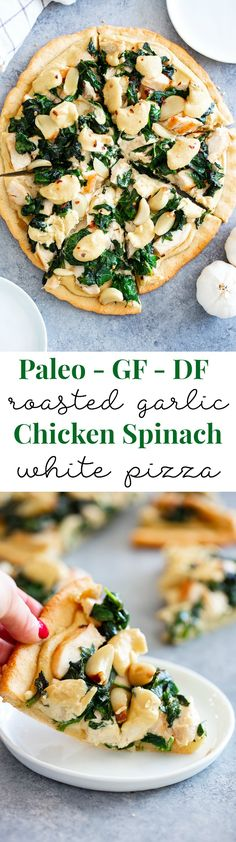 This white pizza has a super tasty roasted garlic cashew cheese sauce with sautéed spinach and chicken, plus more roasted garlic Everything is baked on the best easy paleo pizza crust for a fun, filling and delicious paleo and dairy free pizza - pizz Dairy Free Pizza, Dairy Free Recipes, Paleo Recipes, Cooking Recipes, Pizza Recipes, Best Vegan Cheese, Vegan Cheese Sauce, Cashew Sauce, Roasted Garlic