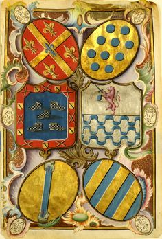 A Spanish Royal Grant of Arms, c. 16th century. -- Upper left: Perez de Siones - Center left: Zapata - Bottom left: San Doval - Upper right: Orellana - Center right: Perez Pizano - Bottom right: Cortez. -- From these families, one can deduce that the grant of arms was regarding the colonies in the New World. Each of the six heraldry arms have strong relationship to Spanish Colonial South America in the 16th century.