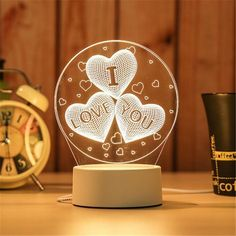 LED Lamp Creative LED Night Lights Novelty Illusion Night Lamp Illusion Table Lamp For Home Decorative Lampe 3d, Desktop Lamp, Love And Co, Novelty Lighting, Luz Led, Led Night Light, Night Lights, Night Lamps, Room Accessories
