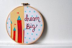 Whimsical Fairy Tale Castles in Red, Yellow. Polka Dot Patchwork, Hand Embroidery in 6 inch Hoop. Handmade by merriweathercouncil on Etsy Wooden Embroidery Hoops, Hand Embroidery, Clear Plastic Bags, Mailing Envelopes, Fairytale Castle, Blue Polka Dots, Dream Big, Hand Stitching, Castles