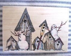Penny Black Stempel sind genial, hier vereinen sie 2 dinge, die mir gefallen: Schneemänner und Vogelhäuser