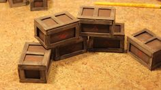 Crates. Made from cardboard & craft sticks. Quick build.