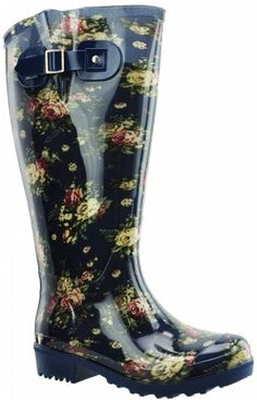 extra wide calf wellies with a flower and jeans pattern