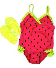 Cherry Watermelon One-Piece & Sandals - Infant & Toddler #zulily #zulilyfinds