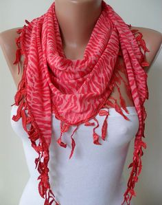 Red Scarf   Leopard Fabric with Red Trim Edge  by SwedishShop, $15.90