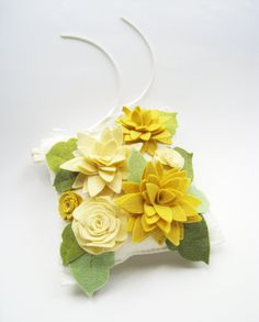 Mellow Yellow, Cream, Buttercup, Pale Mustard on Bright White with moss and pea green leaves
