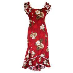 7632e0ed12 Lava Red Hawaiian Meaaloha Muumuu Dress with Sleeves