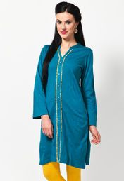 Box the sartorial elegance and push it down the road wearing this blue coloured kurta by Aurelia. Designed with absolute perfection, this acrylic kurta is soft against the skin and will keep you at ease. This attractive kurta will surely fetch you compliments for your rich sense of style.