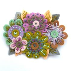 Etsy Transaction - VINTAGE BOUQUET, FELT FLOWER BROOCH WITH FREEFORM EMBROIDERY