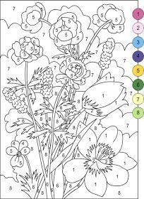 nicoles free coloring pages color by numbers flowers coloring page - Paint Coloring