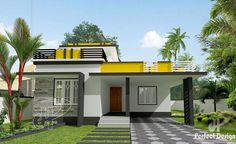 Building your own house today would be a great deal financially due to the cost of materials and labor. This two bedroom home design with 95 sq. floor area offers an economical aspects since the area is not big but still a complete and functional house. Modern Bungalow House Design, Small Modern House Plans, Modern Small House Design, Duplex House Design, Simple House Design, Contemporary House Plans, House Outer Design, Single Floor House Design, House Roof Design