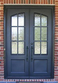 therma tru double entry doors with side lights Double Front Entry Doors, Front Door Entryway, Front Door Porch, Exterior Front Doors, House Front Door, Entrance Doors, Front Door Design, Front Door Colors, Wrought Iron Doors