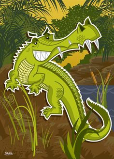 Alligator vector illustration designed by Paul Howalt for Kono magazine. #TactixCreative #alligator #graphicdesign