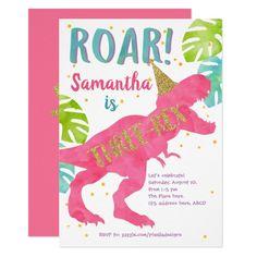 Three-rex Dinosaur Girl Third Birthday Invitation 3rd Birthday Party For Girls, Girl Dinosaur Birthday, Girl Birthday Themes, Little Girl Birthday, Dinosaur Party, Birthday Ideas, Dinosaur Cake, Baby Birthday, Birthday Celebration