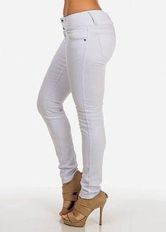 White Low Rise Denim Skinny Jeans