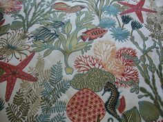 Yard Of Wide Luxury Grade Designer Home Decor Fabric Upholstery Coral Reef Hawaiian Tropical Fish Seahorse Starfish Teal Sage Plck