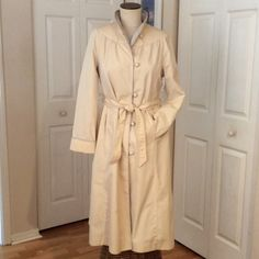☔️VINTAGE TRENCH COAT☔️ Light beige with pale blue piping & lining.  Machine Washable. NWOT I believe this is from the 70's. Ms Freddi Jackets & Coats Trench Coats