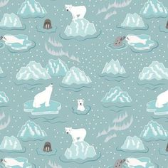 Walrus and Friends on Icy Blue - Northern Lights Lewis & Irene - polar bear, seal, arctic, winter, m Animal Doodles, Arctic Animals, Thing 1, Christmas Wishes, Christmas 2016, Christmas Fabric, Blue Fabric, Cotton Fabric, Fabric Design