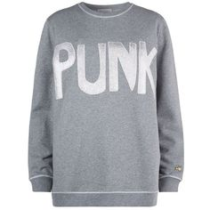 Bella Freud Punk Sweater ($275) ❤ liked on Polyvore featuring tops, sweaters, relaxed fit tops, punk rock sweaters, star sweater, grey top and marled sweater