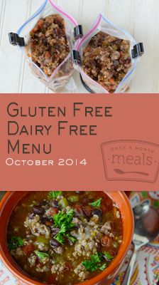 Sweet pumpkin smoothies, spicy chili and some southwestern flair top off our tummy pleasing Gluten Free Dairy Free October 2014 Menu. | Gluten Free Dairy Free October 2014 Menu | Once A Month Meals | OAMC | Freezer Cooking | Freezer Meals | Customized Shopping List | Custom Serving Menus | Pre-planned Menus | Customize your own!