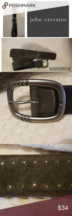 """John Vavratos slate belt L Deep.mossy/gray suede belt with silver design Approx 42"""" long. Hikes from  about """"35 -39"""". Light wear, no loopp John Varvatos Accessories Belts"""