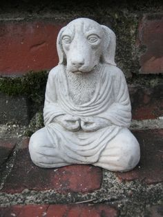 Buddha Dogs Meditating Pet Cast In Cement by WestWindHomeGarden