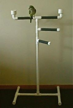 Easy to make. All pvc pipes used. Use this as an example to make a different version of this. (PARROT PLAY GYM bird perch triple tower stand by herbiethebirdie) Parrot Perch Diy, Bird Perch, Parrot Toys, Parrot Bird, Bird Play Gym, Parrot Play Stand, Diy Bird Toys, Bird Stand, African Grey Parrot