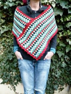 No instructions--just inspiration.  The blogger took an rectangular bit of an unfinished blanket and refashioned it into a poncho!