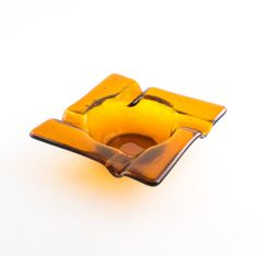 Amber Glass Ashtray Cigar Ash Tray Smoking by Nostalgianmore