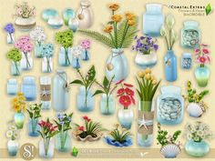 Sims 4 CC's - The Best: Coastal Extras - Flowers and Vases by SIMcredible!...