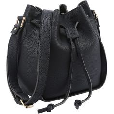 Embossed Faux Leather Drawstring Bucket Bag Black ❤ liked on Polyvore featuring bags, handbags, shoulder bags, vegan purses, vegan shoulder bags, embossed purse, synthetic leather handbag and drawstring handbags