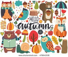 Cute Autumn Woodland Animals and Fall Floral Forest Design Elements