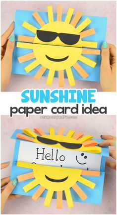 Sun DIY Paper Card Fun Paper Craft for Kids is part of Kids Crafts Summertime Paper Say hello to summer with this super fun Sun DIY paper card This smiley sunny face opens up to reveal a special m - Sun Crafts, Summer Crafts For Kids, Craft Projects For Kids, Paper Crafts For Kids, Crafts For Kids To Make, Diy Paper, Kids Diy, Craft Ideas, Craft Activities