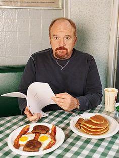 Louis C. K. reads, eats breakfast. oldfilmsflicker:  Happy BirthdayLouis Szekelyaka Louis C. K. (born September 12, 1967)