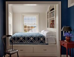 Bed alcove in new farmhouse in Columbia County, New York  (by John B. Murray Architect)