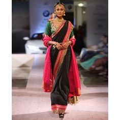 Black Sari with Red Woven Border