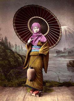 "WINTER GEISHA WITH UMBRELLA AND LANTERN -- Meiji-era Studio View  (""Salt Print"" # 1) by Okinawa Soba, via Flickr"