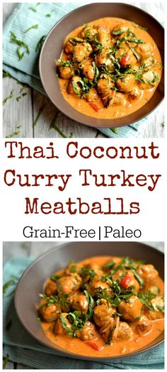 Simple Grain-Free Meatballs in a deliciously creamy coconut red curry sauce. My family's new favorite dinner!! Paleo & Whole 30 compliant.